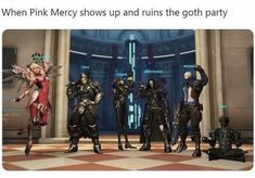 When Pink Mercy shows up and ruins the goth party - iFunny :) Overwatch Comic, Overwatch Memes, Goth Memes, Gaming Memes, Stupid Memes, Funny Games, Funny Comics, Popular Memes, Haha