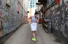 Image of Kayla wearing a KaaDiki outfit, neon, transparent, nike shoes, sneakers, sweatpants, dress shirt, street style