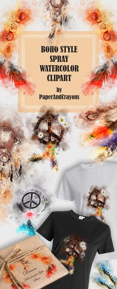 Chic boho watercolor clipart set made with unique sprayed watercolor technique. Dreamcatcher, feathers, peace sign and more perfect for wedding invitations and stationery. Clipart borders are semi-transparent and work great with different patterns and background. Unlock new creativity ideas for your perfect designs! #bohemianstyle #boho #bohochic #clipart #watercolour #dreamcatcher #summertime