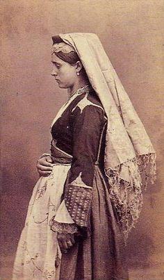 A Cretan Woman of Candia in native costume. Crete Greece.  Date Late 19th-early 20th Century