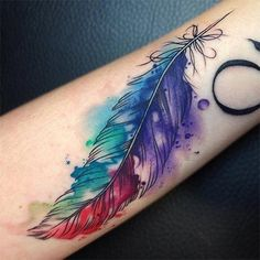 Watercolor Feather Tattoo