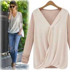 Cheap Sexy V Neck Long Sleeves Knitting Patchwork Pink Chiffon Shirt_Blouses&Shirts_Tops_Womens Clothing_LovelyWholesale | Wholesale Shoes,Wholesale Clothing, Cheap Clothes,Cheap Shoes Online. - LovelyWholesale.com
