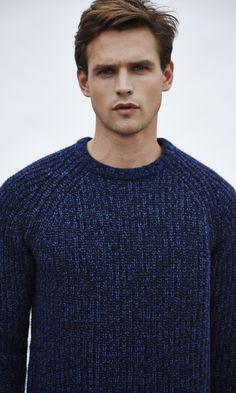 Reiss Woodville Men's Fisherman Knit Jumper in Blue