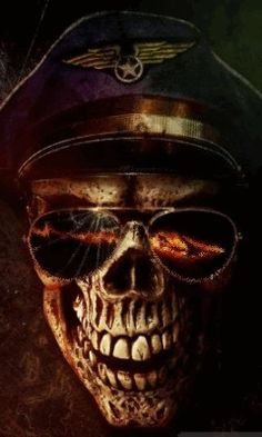 Download Animated 240x400 «Skull with glasses» Cell Phone Wallpaper. Category: Fantasy
