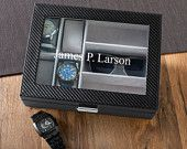 Mens Watch Box with Sunglasses Holder - Free Personalization - GS5816