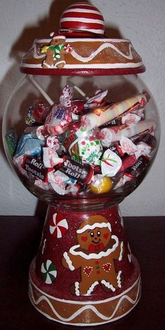 Gingerbread Candy Jar Handmade Handpainted by punkimunki on Etsy