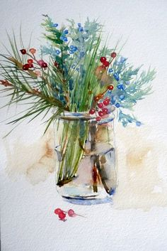 ideas flowers vase watercolor artistsYou can find Watercolor artists and more on our ideas flowers vase watercolor artists Watercolor Christmas Cards, Watercolor Cards, Watercolor Print, Watercolor Flowers, Watercolour Painting, Simple Watercolor, Painting Flowers, Abstract Paintings, Oil Paintings