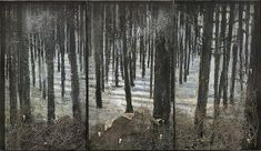 Anselm Kiefer (All. 1945- ), Winterwald, 2010, oil, emulsion, acrylic, shellac, ash, torn bushes, synthetic teeth and snakeskin on canvas in glass and steel frames, 130 11/16 x 226 13/16 x 13 13/16""