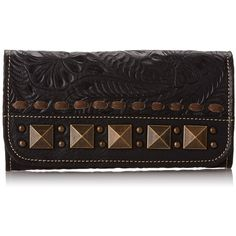 American West Globe Trotter Ladies Tri Fold Leather Wallet ($86) ❤ liked on Polyvore