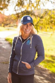 Navy blue another mother runner trucker hat + flag hoodie. So-weet!