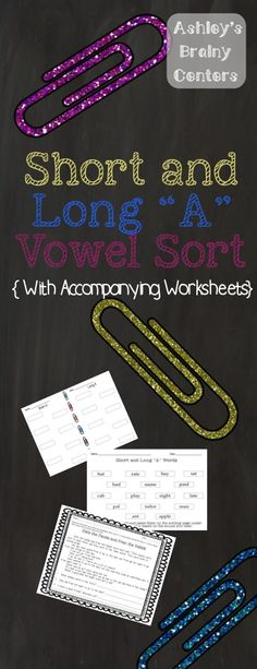 Short/Long A Vowel sort and 2 accompanying worksheets for extra practice of the skill.  Very interactive!