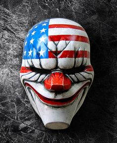 Payday: The Dallas clown mask. This fiberglass mask is light weight and durable, comfortable to wear. It's also good on display and a great conversation starter piece. Joker Clown, Clown Mask, Creepy Clown, Creepy Masks, Payday 2, Realistic Halloween Masks, Halloween Art, Clown Tattoo, Paintball Mask