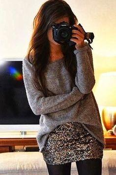 Women's fashion glittering skirt and grey sweater
