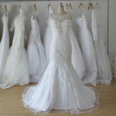 mermaid wedding dress,long lace white wedding dress,elegant wedding…