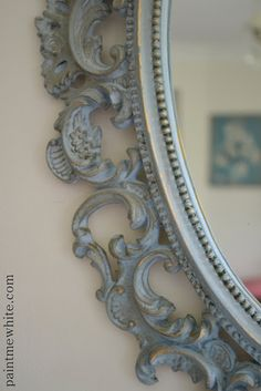 gorgeous mirror painted in ASCP Louis Blue with clear and dark wax by Paint Me White