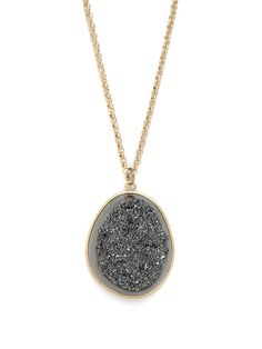 Add a little tough love to your glamour pendant. This stunning style flaunts an oversized drusy gemstone, roughly textured and even more radiant than your average crystal.