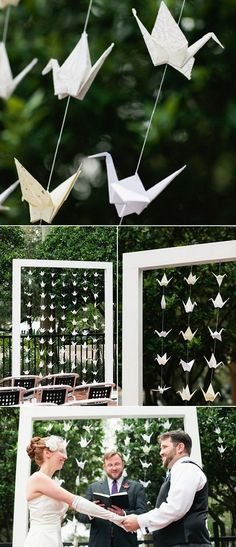 CEREMONY: Modern white arch with paper cranes. Flower arrangement to be added to top of frame.