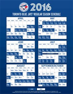 2016 Blue Jays Schedule