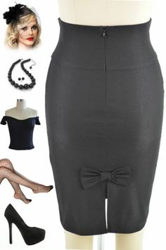 50s Style Black High Waisted Pinup Pencil Skirt with Back Bow Accent Detail | eBay (add a wide belt)
