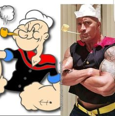 """Dwayne Johnson as """"Popeye"""" for Halloween. ♡*Thank You For Following Me!*♡ No pin limits for followers. My pins are your pins. Feel free to repin whatever you want and as much as you want. Please visit often and pin freely anytime.❤️ GOD BLESS YOU! Please Visit me at → https://www.pinterest.com/imjollyollie/"""