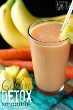 I needed this Golden Detox Smoothie today! I have eaten so much junk over the holidays, I am ready to clean things up in my system. This is the perfect transition smoothie too, it is naturally sweet and delicious and loaded with so much that is good for you! And the golden color from the yellow and orange fruits and carrots give it such an appetizing color! Another great thing about this smoothie is that it is packed with vitamin C!