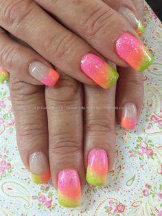 Neon gel polish fade with glitter