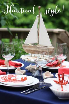Nautical table inspiration via @Courtney Baker Baker Baker Baker Whitmore {Pizzazzerie.com}