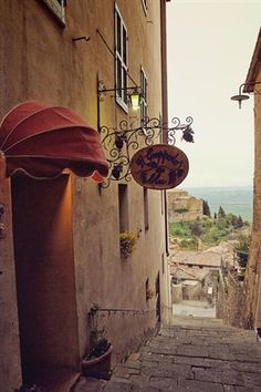 | ? |  Ristorante on the steps - Montalcino, Tuscany  | by ©... - Find Travel and Places Images for Pinterest