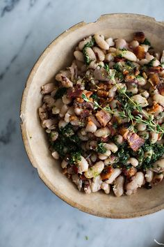 White beans with herb oil.