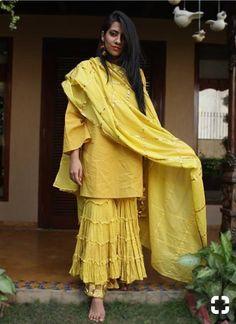 Yellow Cotton Sharara Set with Dupatta - 3 Piece Set – The Loom Pakistani Dresses, Indian Dresses, Indian Outfits, Ethnic Outfits, Indian Attire, Indian Wear, Sarara Dress, Sharara Designs, Indian Designer Suits