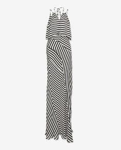 mason by michelle mason bias striped halter maxi dress.