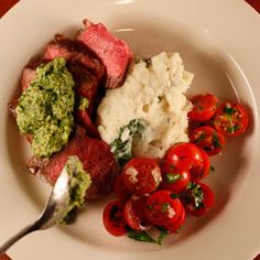 Complete Meal -- Porterhouse Steaks with Salsa Verde, Garlic Mashed Potatoes, and Cherry Tomato w/Red Onion Salad | Rachael Ray Show