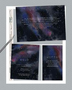 DIY- Galaxy, a watercolor Printable Wedding Invitation Suite