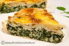 Tarta cu spanac si branza | Diva in bucatarie Low Carb Recipes, Cooking Recipes, Romanian Food, Savoury Baking, Spanakopita, Cake Recipes, Food And Drink, Appetizers, Vegan