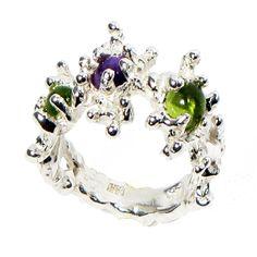 Sterling silver gemstones ring - between the seaweeds