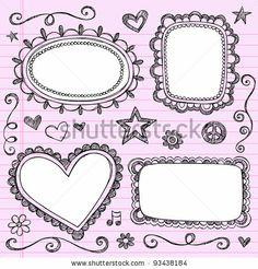 frames and borders hand drawn sketchy ornamental notebook doodles picture frame set illustration design elements on lined sketchbook paper background stock