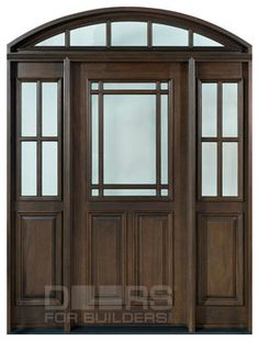 Front Door Custom - Single with 2 Sidelites w/ Transom - Solid Wood with Walnut Finish, Classic, Model TR CST Custom Interior Doors, Custom Wood Doors, Wood Entry Doors, Patio Doors, Doors And Floors, Classic Doors, Pivot Doors, House Front Door, Traditional Doors