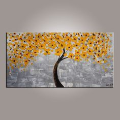 Flower Painting, Painting on Sale, Yellow Flower Tree Painting, Tree of Life Abstract Painting Easy Flower Painting, Acrylic Painting Flowers, Hand Painting Art, Online Painting, Large Painting, Abstract Flowers, Texture Painting, Painting Canvas, Painting Abstract