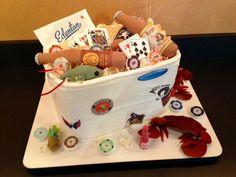 Wow! This is what a groom gets for a groom's cake if she wants to include all of his likes! And yes....it is all edible!