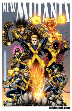 The New Mutants // pencils and inks by Todd Nauck, colors by Benny Fuentes Comic Book Characters, Comic Character, Comic Books Art, Comic Art, Marvel Characters, X Men, Bd Comics, Marvel Comics Art, Magik Marvel