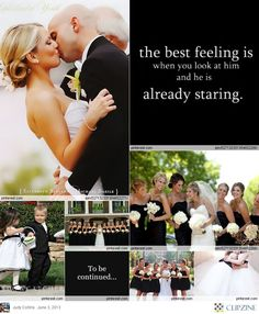 Black + White Weddings black dresses white flowers