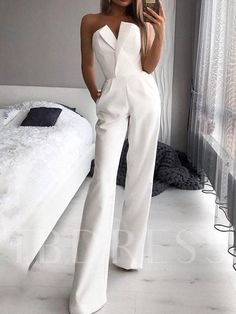 Elegant Simple Solid Color Jumpsuit – Monamc Source by lookatashley outfits elegant White Outfits For Women, Tube Top Dress, Wedding Jumpsuit, Jumpsuit Outfit, Prom Jumpsuit, White Romper Outfit, Pants For Women, Clothes For Women, Mode Outfits