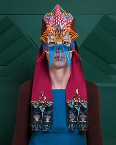 This series of pictures called Armures shows women in armor. These costumes … - Women Dresses for Every Age! Textiles, Female Armor, Masks Art, Fashion Mask, Everyday Objects, Tribal Art, Headgear, Mask Design, Headdress