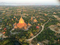 View of Bagan temples via Hot Air Balloon Ride in Bagan, Myanmar
