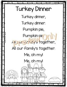 5 printable Thanksgiving poems for kids includes Turkey Dinner, a Handprint Poem, Turkey Turkey, Five Little Turkeys, and more!