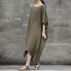 women cotton 1/2 sleeve loose fitting summer dress - Buykud  - 3