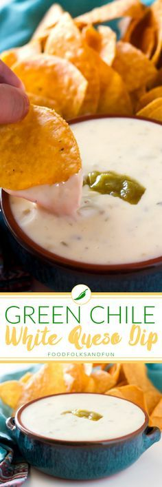 Come learn how to make the Green Chile White Queso Dip of your dreams with this easy 5-minute recipe! It's cheesy, tasty, and incredibly good! | Appetizer Recipe | Entertaining Recipe | Game Day Recipe | Green Chile Recipe | Queso Blanco | Queso Fresco