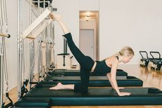 A Complete Guide to Conquering Pilates Machines - Racked NY Welcome to Workout Wednesday: every hump-day, we'll be rounding up some of the city's hottest fitness trends and studios. Pilates Workout, Pilates Logo, Pilates Training, Pilates Reformer Exercises, Pilates Video, Pilates Barre, Pilates For Beginners, Pilates Studio, Pilates Routines
