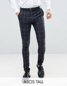 Buy ASOS TALL Super Skinny Suit in Navy Check With Nep at ASOS. Mens Formal Pants, Mens Plaid Pants, Mens Dress Pants, Suit Pants, Mens Fashion Wear, Suit Fashion, Jogger Pants Outfit, Skinny Suits, Men Style Tips