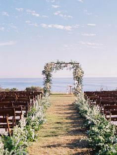 When East Coast Style Meets the West at an Elegant Seaside Bluff Affair in Santa Barbara Jewish Wedding Ceremony, Wedding Ceremony Decorations, Outdoor Ceremony, East Coast Style, Black Tie Wedding, Santa Barbara, Wedding Styles, Wedding Ideas, West Coast